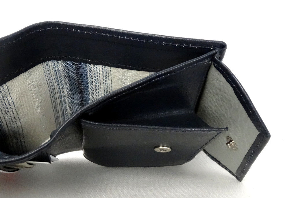Daniel  Dark navy leather small men's wallet note pocket view