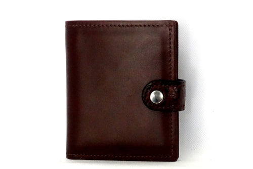 Daniel  Brown leather with croc tab small men's wallet front view