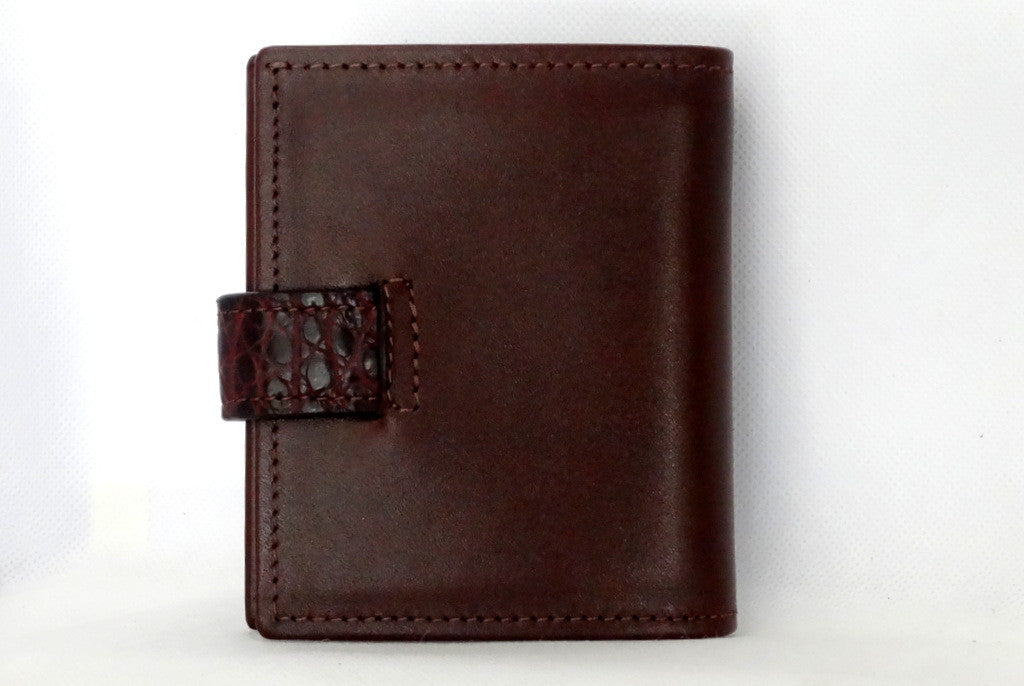 Daniel  Brown leather with croc tab small men's wallet back