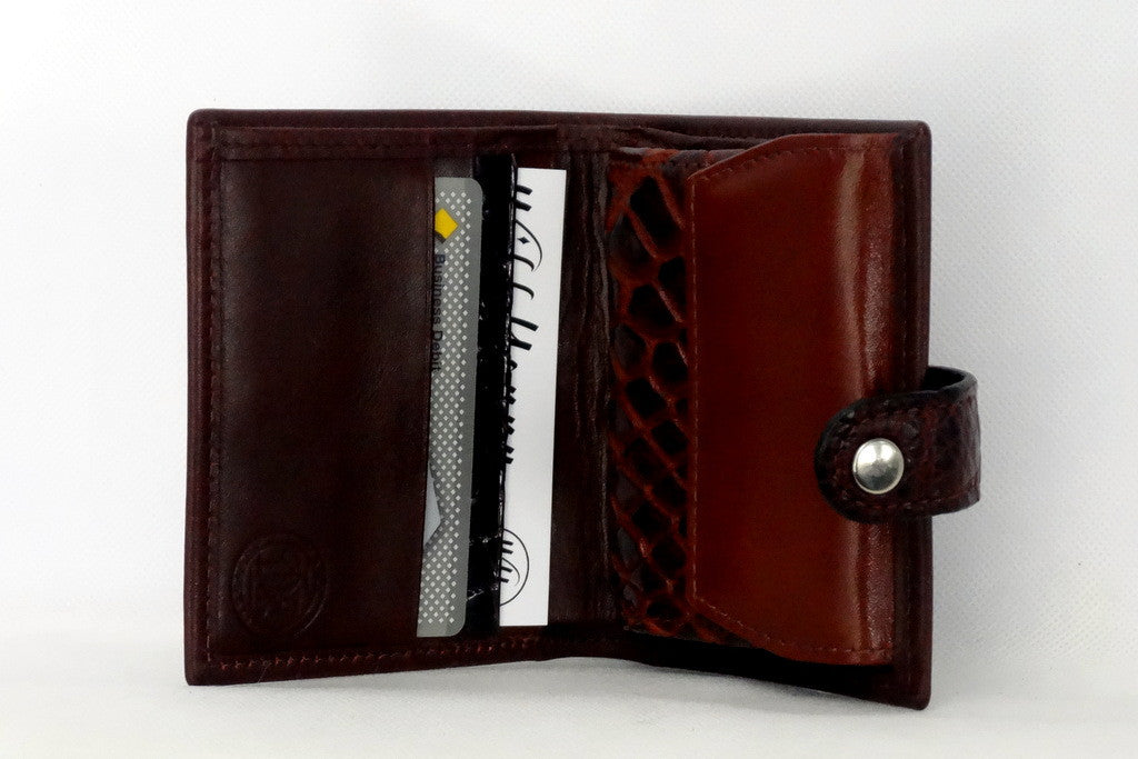 Daniel  Brown leather with croc tab small men's wallet inside coin purse