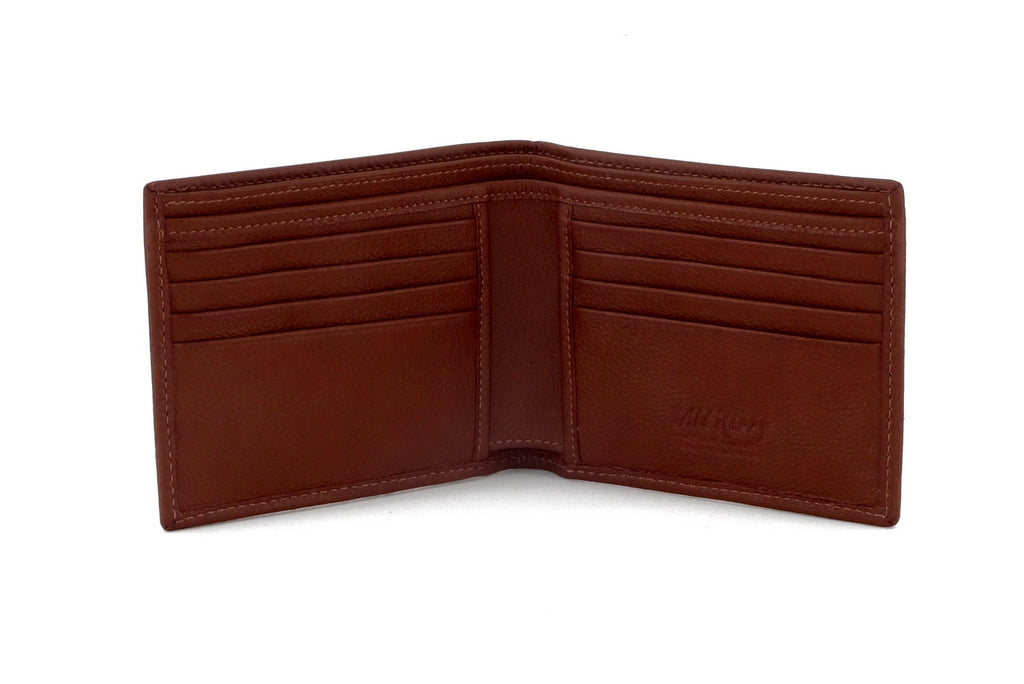 Martin  Tan & white Hair on hide & leather men's large bi fold hip wallet showing internal pocket layout