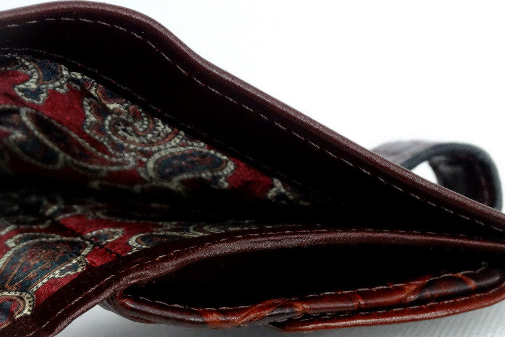 Daniel  Brown leather with croc tab small men's wallet note pocket fabric