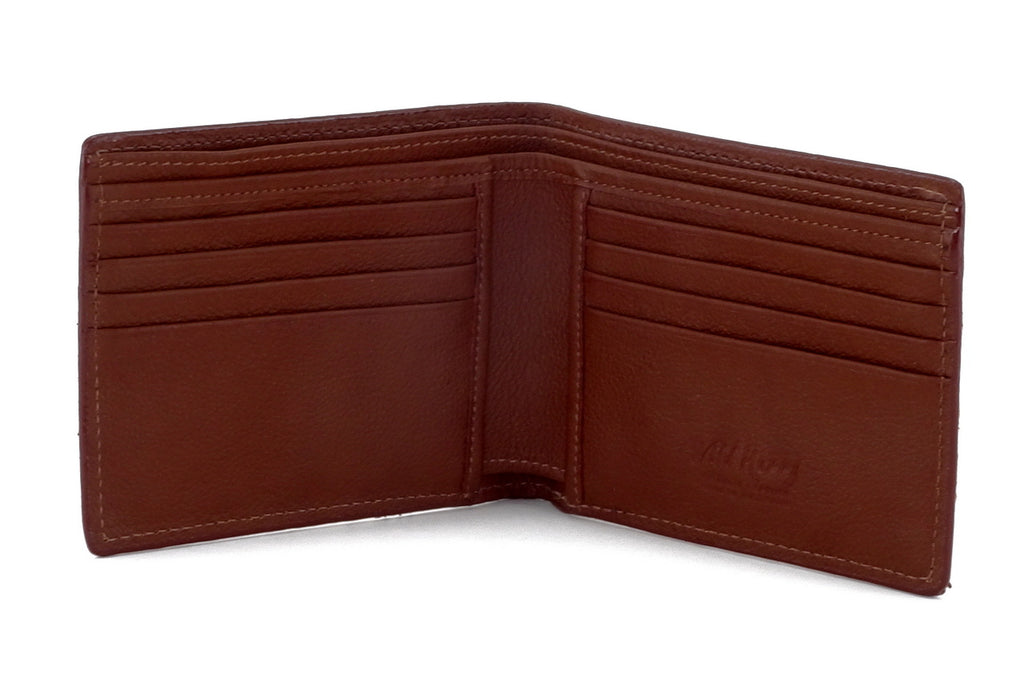 Martin  Brown Hair on hide leather men's large hip wallet showing interanl pocket layout