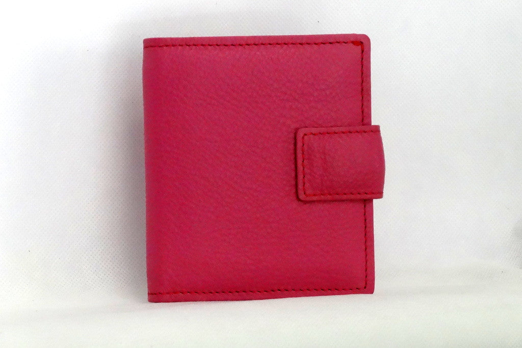 Christine  Pink leather with brown internal small ladies purse wallet front view tab closure