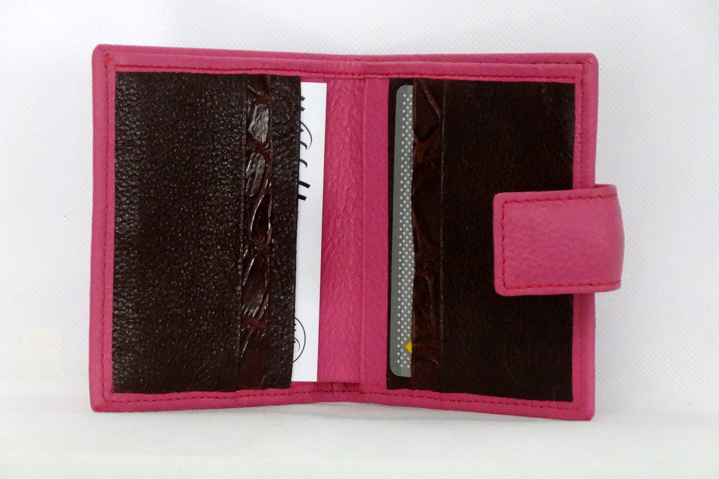 Christine  Pink leather with brown internal small ladies purse wallet inside view