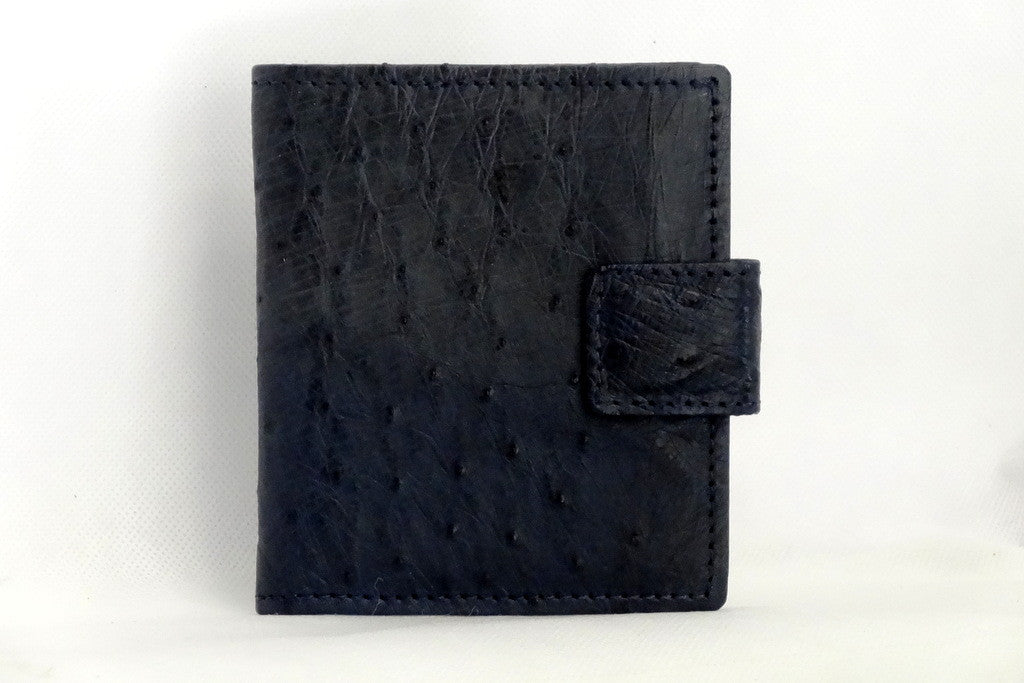 Daniel  Navy blue ostrich chick skin small men's wallet front view