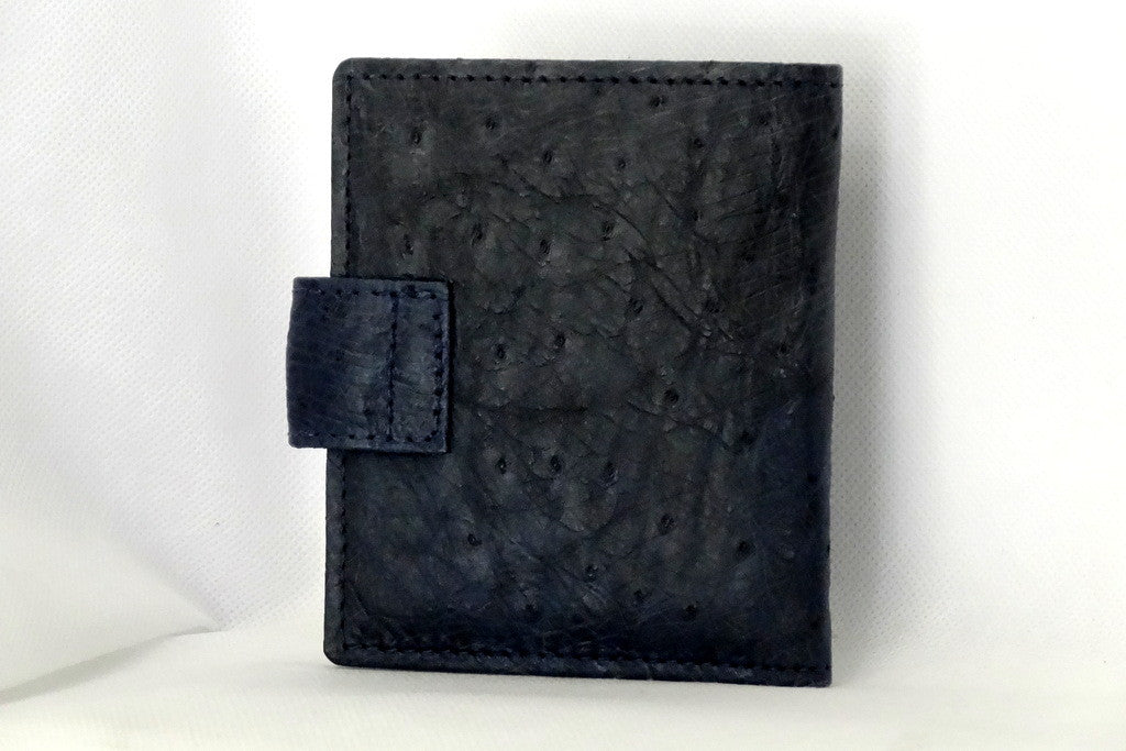 Daniel  Navy blue ostrich chick skin small men's wallet back view