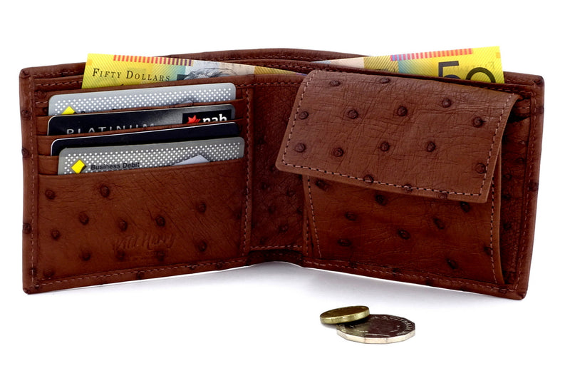 Martin  Tan & white Hair on hide & leather men's large bi fold hip wallet showing pockets in use