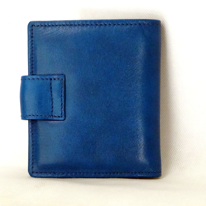 Christine  Blue smooth leather small ladies purse wallet back view