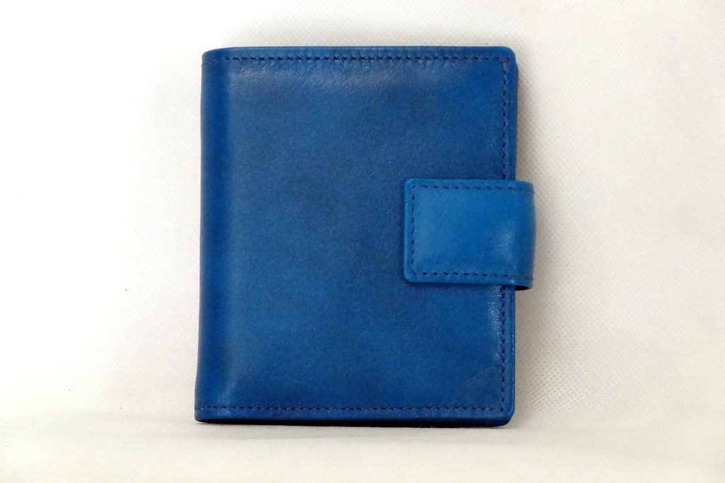 Christine  Blue smooth leather small ladies purse wallet front view tab closure