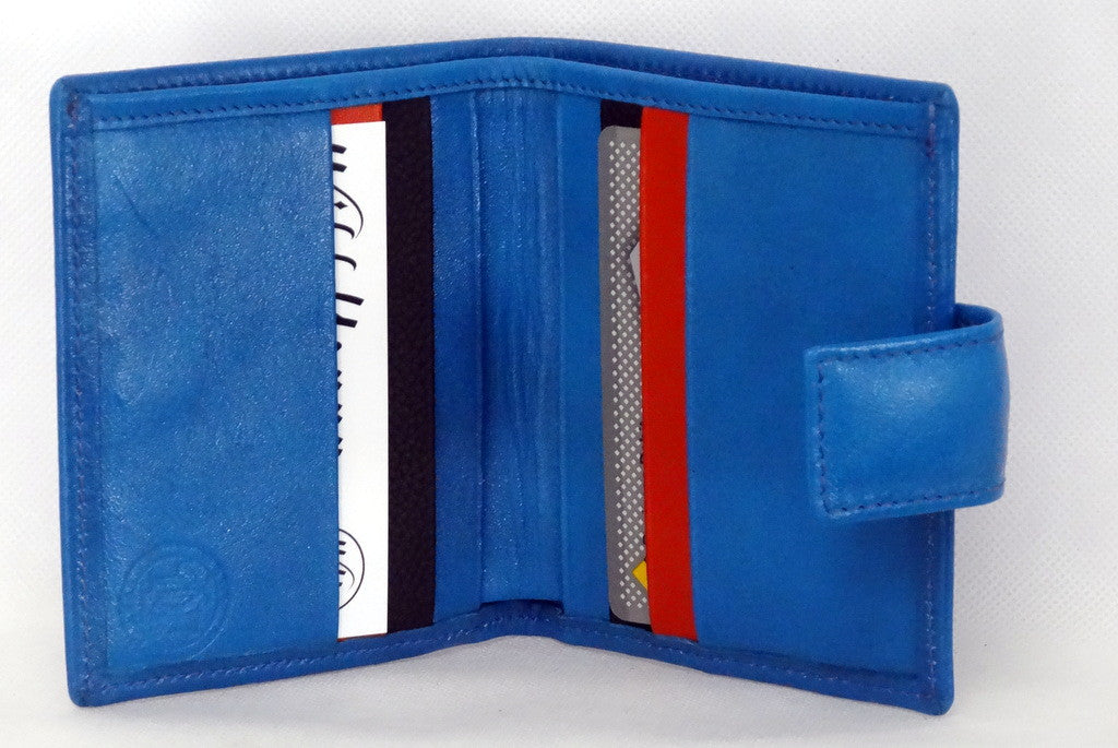 Christine  Blue smooth leather small ladies purse wallet inside view showing in use