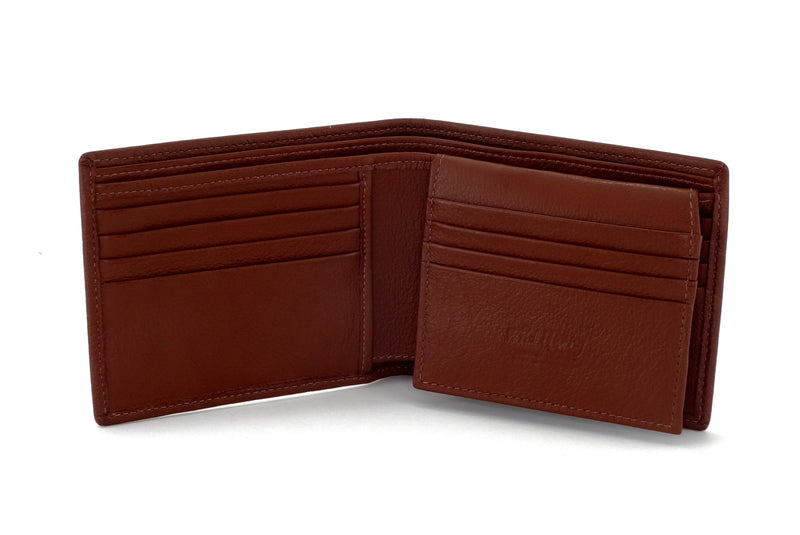 Martin  Brown textured leather man's picture window hip wallet showing inside pocket layout