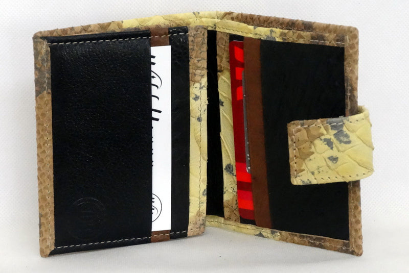 Daniel  Yellow and brown snake print leather small men's wallet inside view
