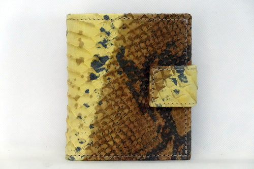 Daniel  Yellow and brown snake print leather small men's wallet front view