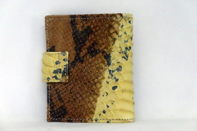 Daniel  Yellow and brown snake print leather small men's wallet back view