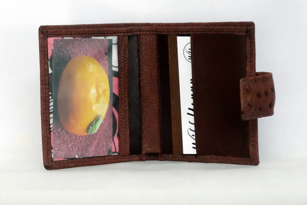 Christine  Brown ostrich small ladies purse wallet picture window credit cards in use