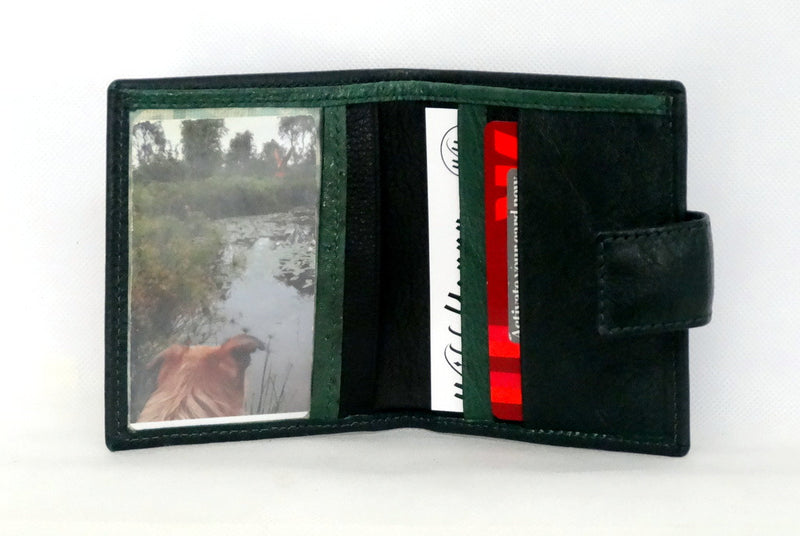 hristine  Forest green textured leather small ladies purse wallet picture window credit card in use
