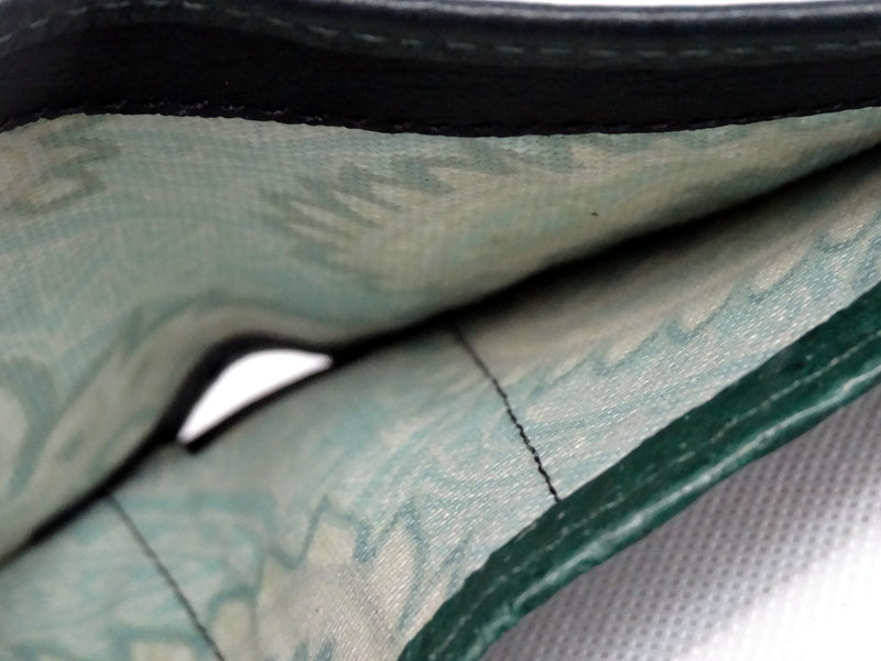 hristine  Forest green textured leather small ladies purse wallet note pocket fabric