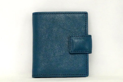 Daniel  Blue goat skin small men's wallet front view