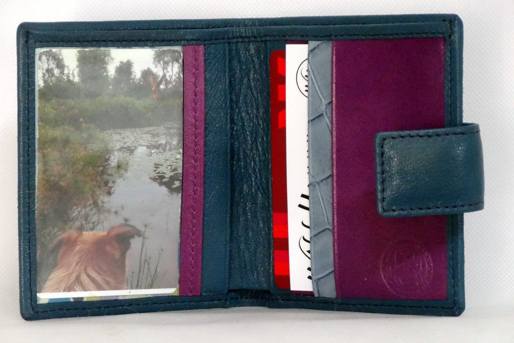 Christine  Blue goat skin purple & blue internal small ladies purse inside view picture window in use