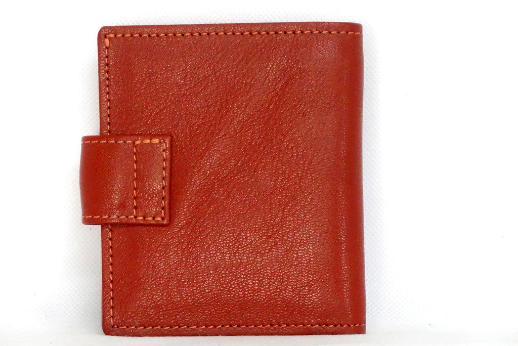 Christine  Rust lightly textured leather small ladies purse wallet back