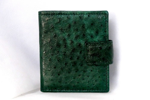 Christine  Green emu skin small ladies purse wallet front view tab closure