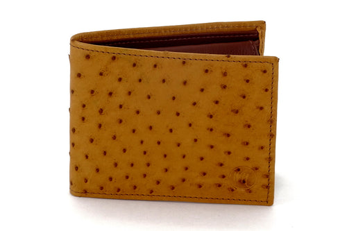 Martin  Tan ostrich leather man's picture window hip wallet showing front view