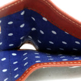 Christine  Rust leather blue polka dot fabric ladies purse wallet note pocket fabric