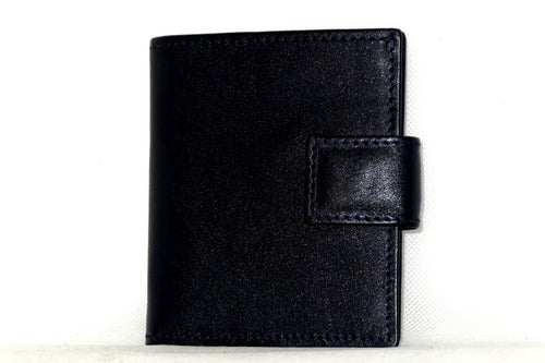 Daniel  Navy blue leather with blue internal small men's wallet front view