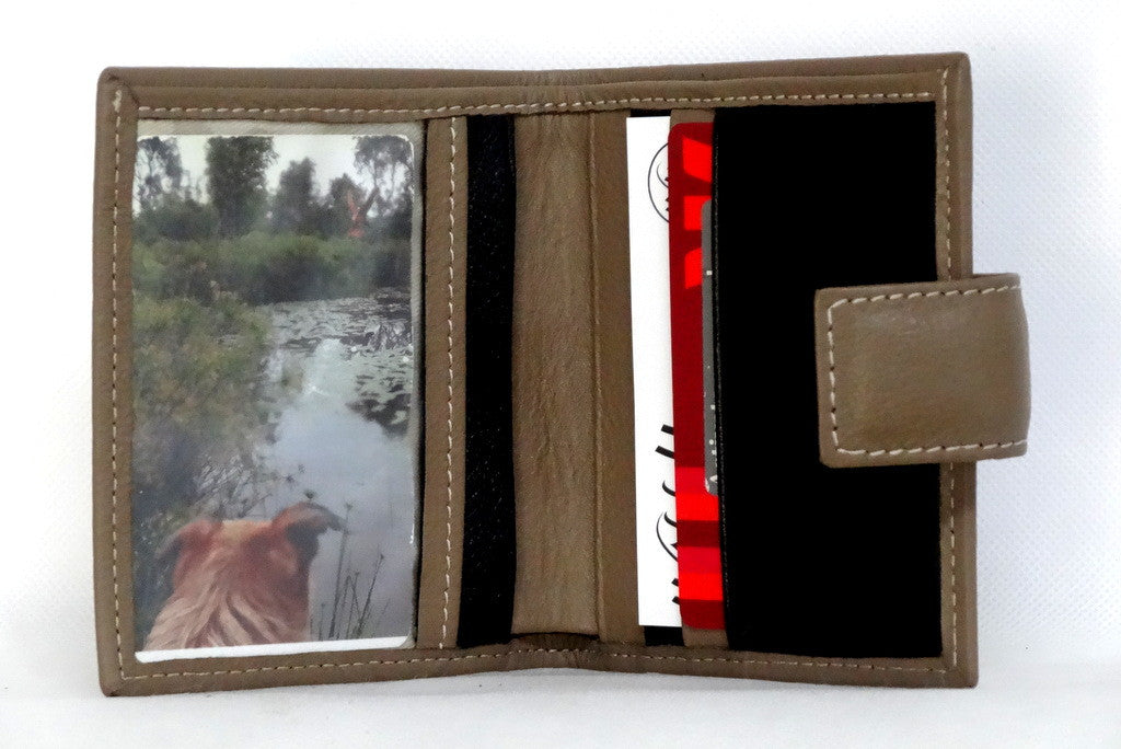 Christine  Nutmeg leather small ladies purse wallet picutre window inside view