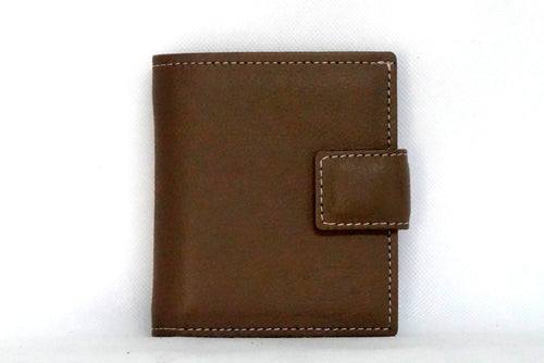 Christine  Nutmeg leather small ladies purse wallet front view tab closure