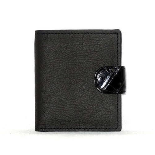 Daniel  Charcoal leather with black croc tab small men's wallet front view