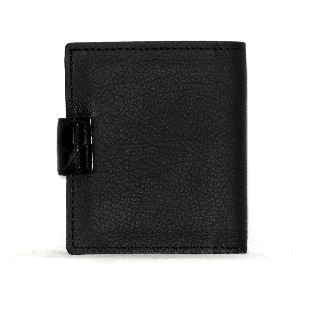 Daniel  Charcoal leather with black croc tab small men's wallet back