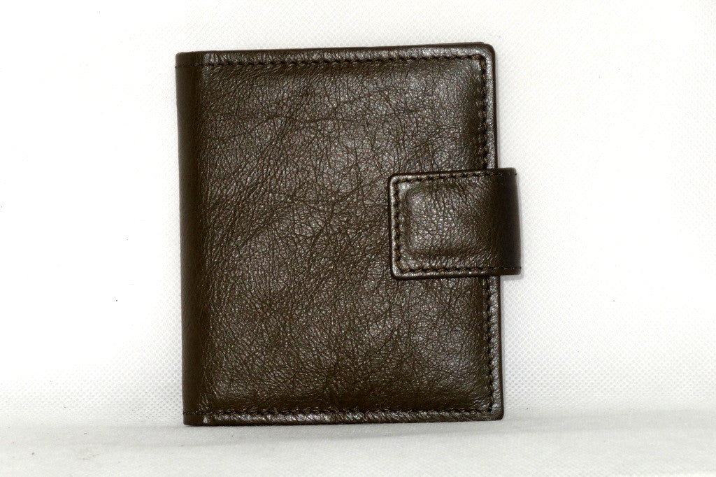 Daniel  Olive kangaroo leather small men's wallet front view