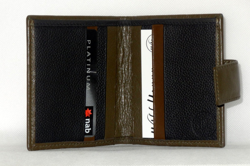 Daniel  Olive kangaroo leather small men's wallet inside view