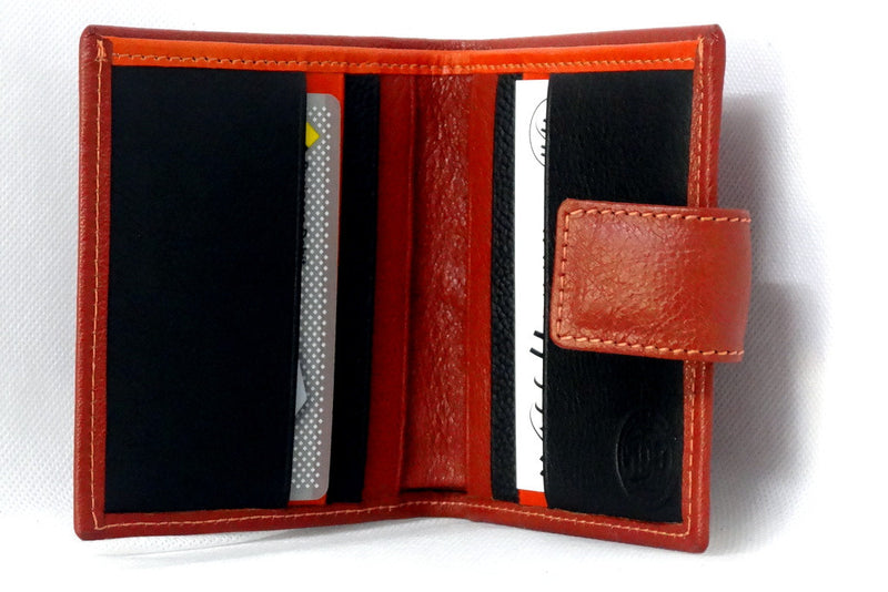 Christine  Rust leather black & orange internal small ladies purse inside view