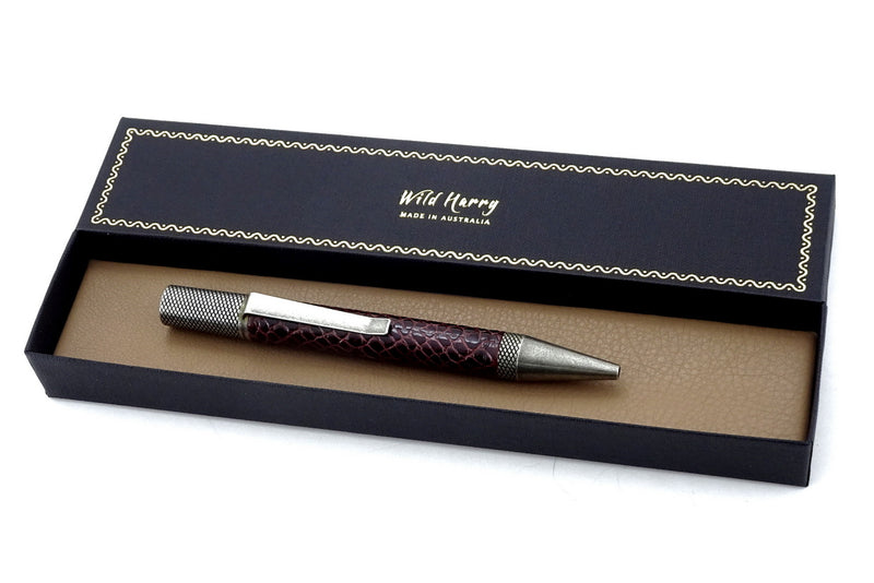 Pen Professor burgundy printed leather antique silver plating shown in box