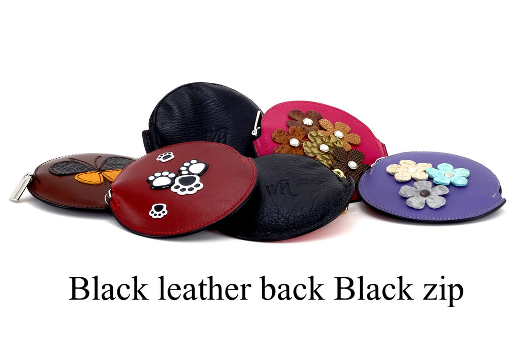 Coin Purse - Round decorated front, black leather back with zip showing front back & zip