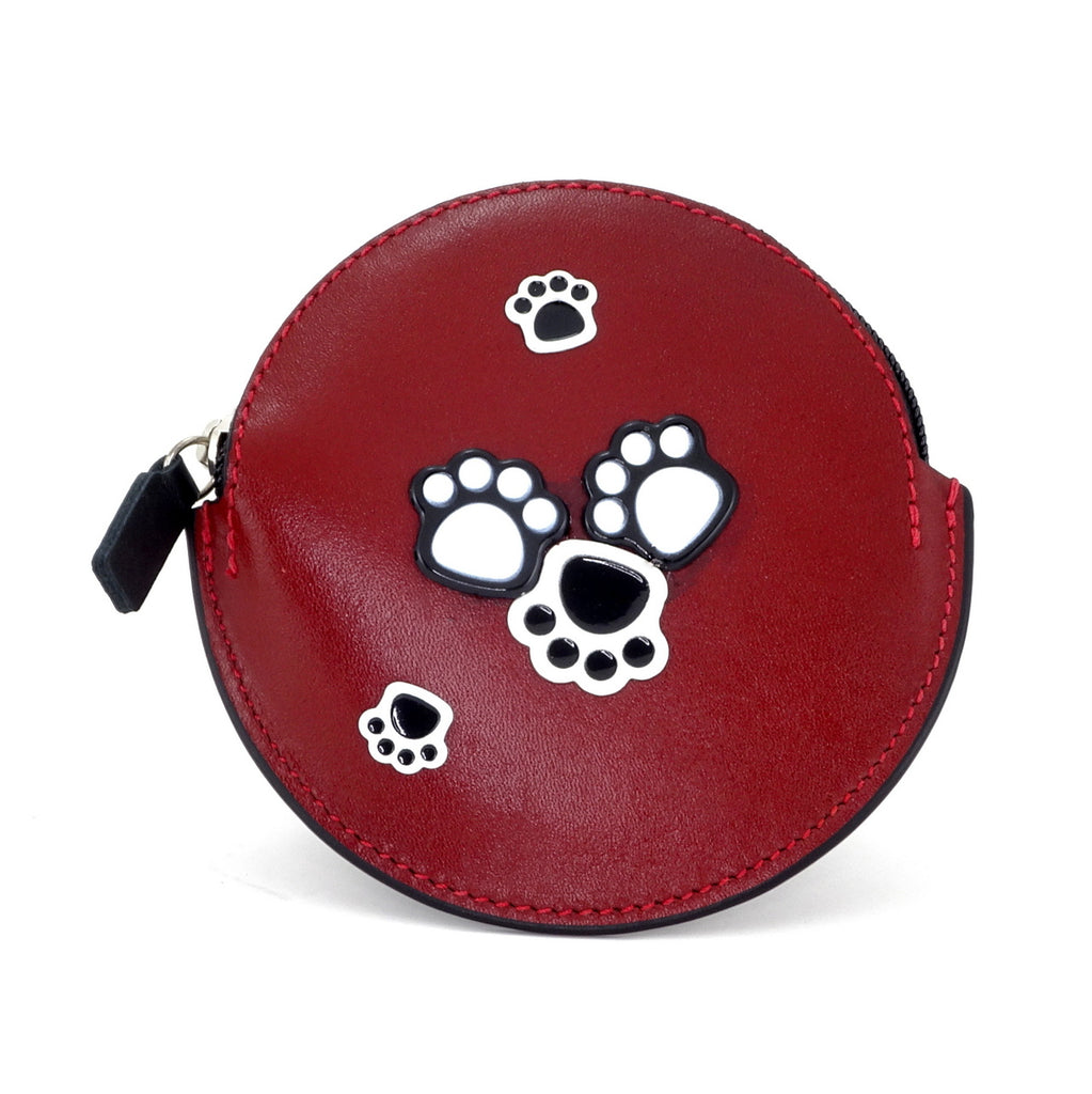 Coin Purse - Round decorated front, black leather back with zip paw prints