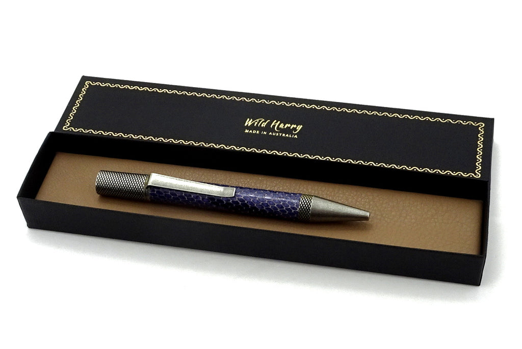 Pen Professor purple snake printed leather antique silver plating shown in box