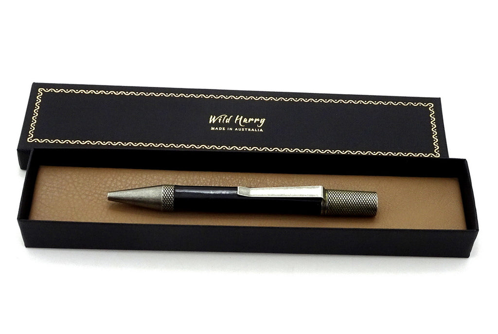 Pen Professor black leather antique silver plating shown in box