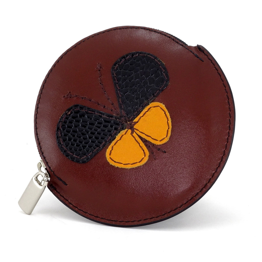 Coin Purse - Round decorated front, black leather back with zip butterfly