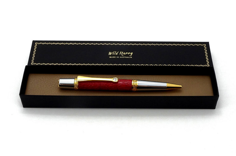 Pen Majestic  Red ostrich leg leather shown in box