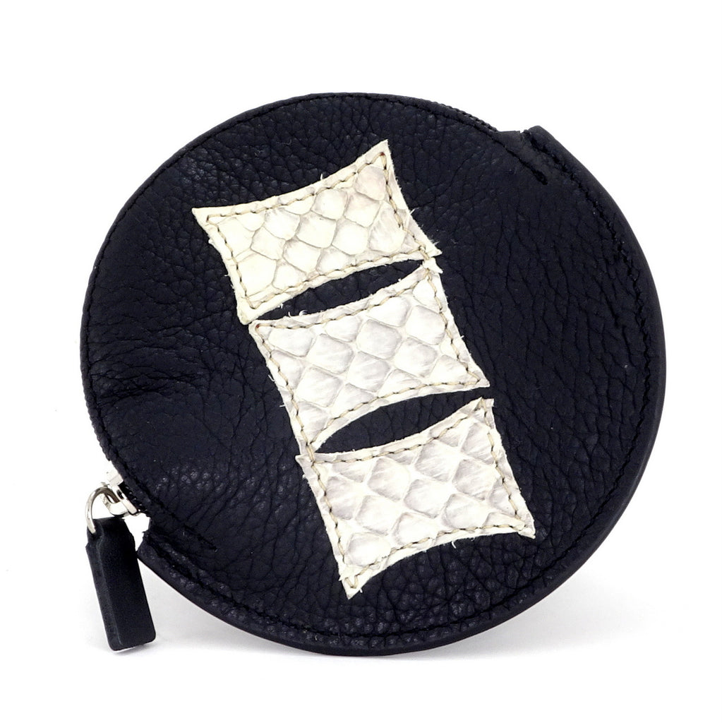 Coin Purse - Round decorated front, black leather back with zip