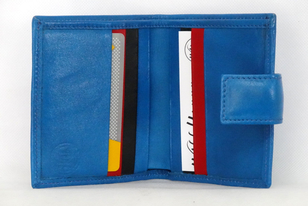 Christine  Blue leather small ladies purse wallet inside view showing in use