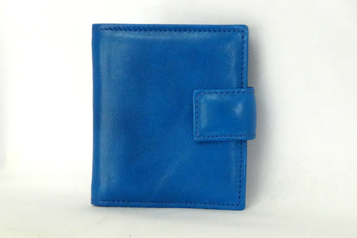 Christine  Blue leather small ladies purse wallet front view tab closure