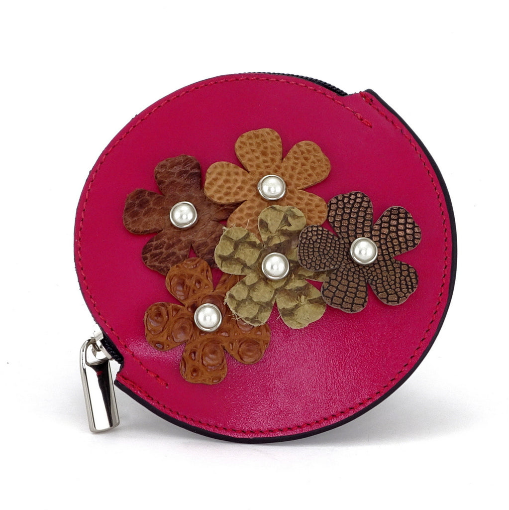 Coin Purse - Round decorated front, black leather back with zip flowers