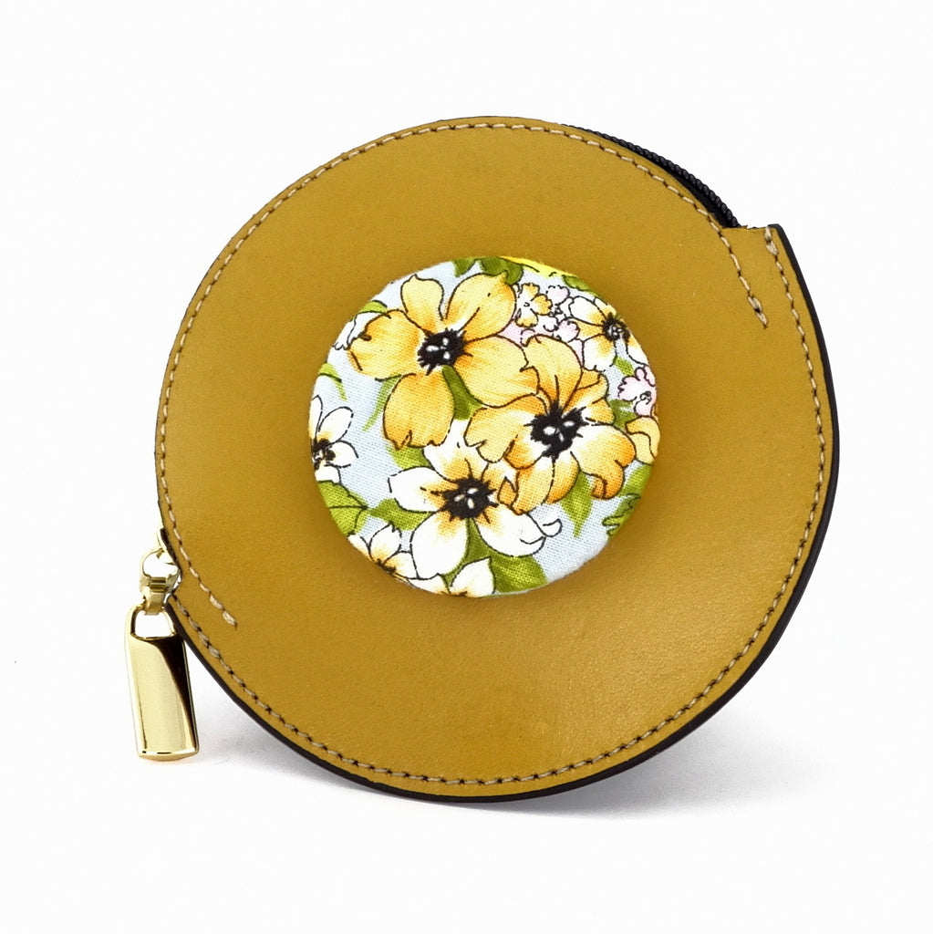Coin Purse - Round decorated front, black leather back with zip flower button fabric
