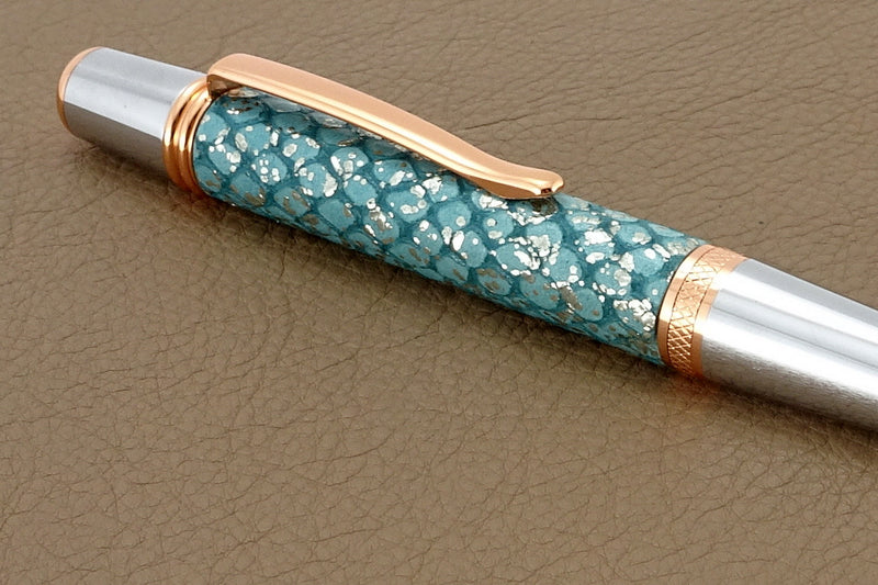 Pen Copper metallic blue single barrel showing ring detail