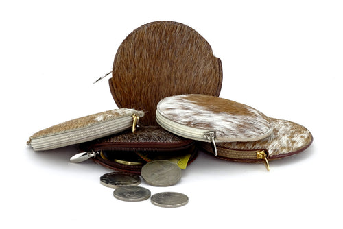 Coin Purse - Round Hair on cow hide leather group